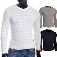 D&R Men's Wool Jumper Knit Smart Long Sleeve Sweater Crew Neck Check Top Slim