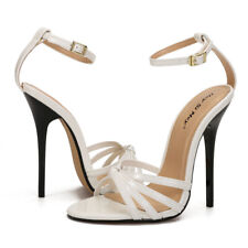 White Ankle Strap Sandals Crossdresser Red Drag Queen Stiletto Trans Shoes 48