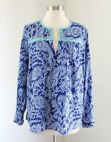J.Crew Factory Blue Paisley Print Embroidered Peasant Top Blouse Size S