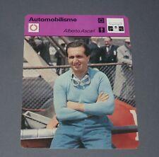 FICHE AUTOMOBILE AUTO ALBERTO ASCARI 1952 FERRARI PILOTE COURSES FORMULE 1