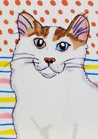 TURKISH VAN Collectible Cat ACEO Original Miniature Art Painting 2.5 x 3.5