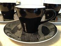 Sango Larry Laslo Litho Black Cup & Sauce Set #267003 EUC!