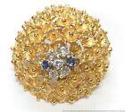 Brutalist Frank J Golden German Made 18k Gold Diamond Sapphire Pin Dome Brooch