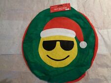 Happy Holiday Green Red Yellow Emoji Print Felt Christmas Toilet Seat Cover.