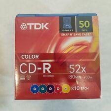 TDK CD-R 50 pack 52x 80 MIN 700MB Snap N' Save Color Case NIP