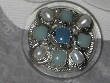 CHANEL  METAL CC LOGO FRONT  GREEN GLASS PEARL BUTTON  22 MM / OVER 1'' NEW