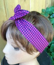 Wired Dolly Bow  Made in the USA  Hounds Tooth Wire Headband  Rockabilly