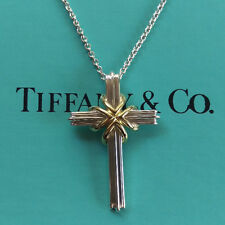 Tiffany & Co. Sterling Silver 925 & 18K Gold Cross Necklace Pendant, Free ship