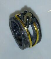 Ring mit Rohdiamant, Silber 925 geschwärzt, Gold 750,  Flamere Design