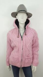 12 14 100% WOOL MADE IN NEPAL CHUNKY KNITTED HOODED JACKET WARM RARE MOREFORSALE