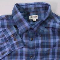 Haggar Button Up Shirt Mens XL Blue Long Sleeve Cotton Flannel Plaid Shirt
