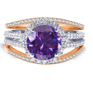 Rose Gold Brilliant Amethyst CZ Wedding Engagement Silver Three Ring Set 2.35 Ct