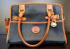 Vintage Dooney & Bourke Navy Tan Pebbled Leather Satchel Handbag - Free Shipping