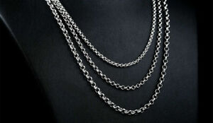 24 inch 316L Stainless Steel Chain Necklace Women Men's High Quality Link 3mm