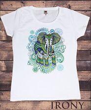 TS836 Women's T-Shirt Colourful Elephant Ethnic Tie Dye meditation Zen Print