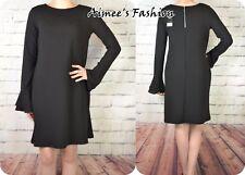 NEXT NEW UK 8 LONG SLEEVED CLASSIC BLACK SHIFT DRESS 528
