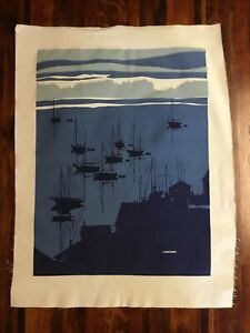 Marushka Signed Screen Print Sailboats Harbor NOS MCM Original GC Unframed Med.
