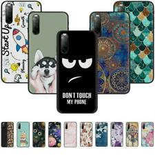 For Sony Xperia 1 10 II Slim Soft Silicone Pattern Black TPU Back Case Cover
