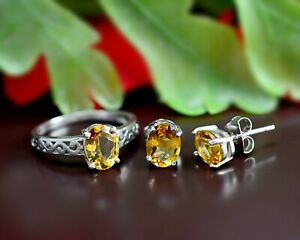 925 Sterling Silver Natural Citrine Gemstone Jewelry Engagement Ring Earring Set