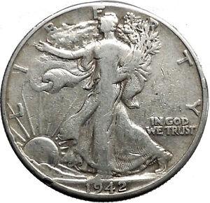 1942 WALKING LIBERTY Half Dollar Bald Eagle United States Silver Coin i44642