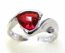 #R1847 2.1ct Ruby Red Helenite Trillion Cut Solid 925 Sterling Silver Ring