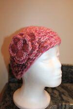 D & Y acrylic winter headband hat pink orange purple w/flower decoration