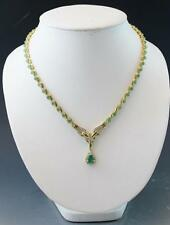 14K Yellow Gold 3.81ct Natural Pear Shape Emerald & 2.37ct Diamond Necklace