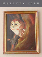 WOW! VTG MID CENTURY OWL ORIGINAL OIL PAINTING! 60S 50S ATOMIC DECOR RETRO BIRD