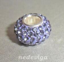 925 Sterling Silber Bead Charm Anhänger Glitzer - Strass lila flieder + Etui