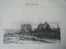 LITHOGRAPHIE TIREE GUIENNE MONUMENTALE 19ème  RUINES DE LANSAC GIRONDE