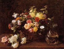 Nice Oil painting Henri Fantin Latour - Basket of Flowers wih glass water pot