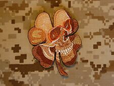 Pirate Skull Clover Military Army Morale Desert AOR1 SEAL Black Ops Patch Hook