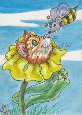 Kitty Cat flower Mouse Bee ACEO EBSQ Kim Loberg Original Fantasy bug Mini Art