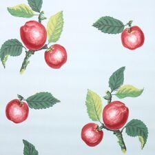 1950s Kitchen Vintage Wallpaper Red Apples Green Leaves on Blue