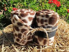 Set of 2 New Soft Fleece Handmade Polo Horse Leg Wraps ~ Brown Giraffe