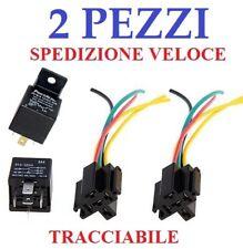2X PEZZI RELE RELAY 12V PER AUTO UNIVERSALE 5 PIN CONTATTI CON ZOCCOLO 30/40 AMP