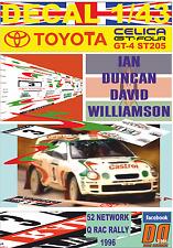 DECAL 1/43 TOYOTA CELICA ST205 IAN DUNCAN RAC RALLY 1996 DnF (07)