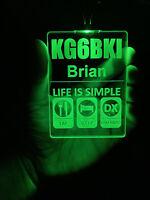 Color Custom Engraved LED Ham Shack Amateur Radio Name Badge Ham Life