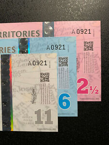 ARCTIC TERRITORIES SET 2 1/2, 6, 11 DOLLARS 2013 MATCHING S/N POLYMER UNC