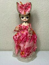"Big Eyed 1960s Doll Ash Blonde Pink Dress & Hat Pantyhose 12"" Korea on Stand"