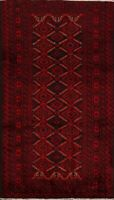 Geometric Balouch Afghan Oriental Area Rug Wool Hand-Knotted Foyer Carpet 4x7 ft