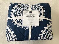 Pottery Barn Dorm Medallion Flourette Bedding Set XL Twin Blue & White NEW