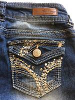 Wallflower Jeans Size 1 Rhinestones Sequin Embellished