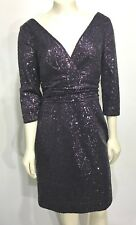 Kay Unger NY 10 Plum Purple Sequin V-Neck Cocktail Dress 3/4 Sleeves Knee-Length