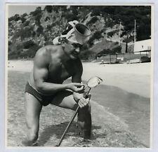 PHOTO ANCIENNE Homme Maillot de bain Gay interest Plage Pêche Masque plongée