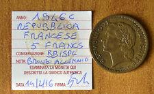 REPUBBLICA FRANCESE 5 FRANCHI FRANCS 1946 C BRONZO ALLUMINIO BB/SPL SUBALPINA