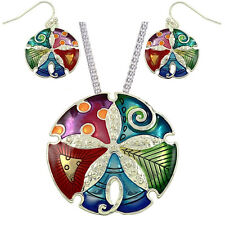 Gorgeous Large Enameled Sand Dollar Pendant Necklace and Earrings Set