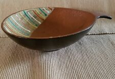 Mid Century Modern Candy Dish W Germany pottery multi-color textured w/ handle