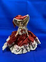 """Doll Vintage Hard Plastic- 6""""- Red Dress With Hat"""