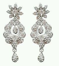 Star Shape Silver White Rhinestone Studded Crystal Earring Bridal Fashion Women